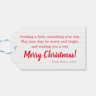 White on Red Wreath: Personalized Christmas Tag