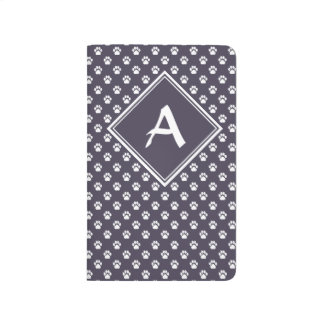 White-on-Smoky Purple Pawprint Pattern Journal
