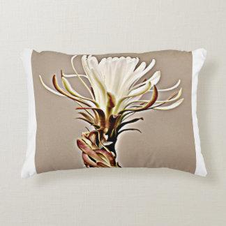 White on Tan Cactus Flower Pillow