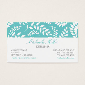 White on Teal Foliage Ferns Pattern Business Card