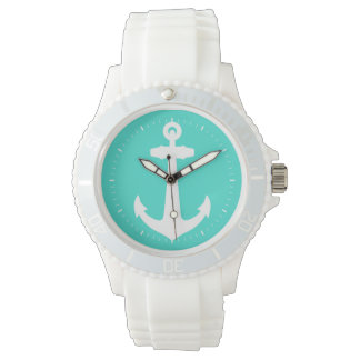 White On Turquoise Coastal Anchor Wrist Watches