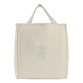 White on White Monogram with Crown Embroidered Bag