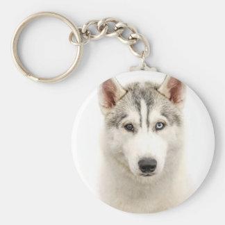 White on White Siberian Husky Keychain