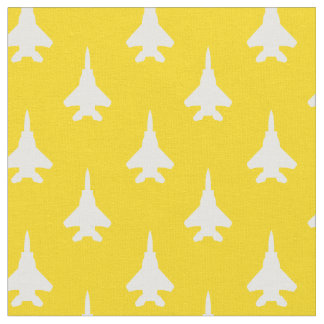 White on Yellow Strike Eagle Fighter Jet Pattern Fabric
