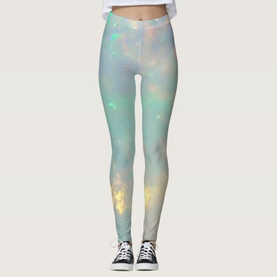 White Opal Gemstone Leggings