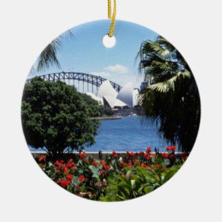 White Opera House in background, Sydney, Australia Round Ceramic Ornament