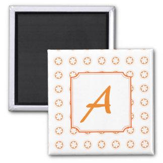 White & Orange Apple Blossoms Square Magnet