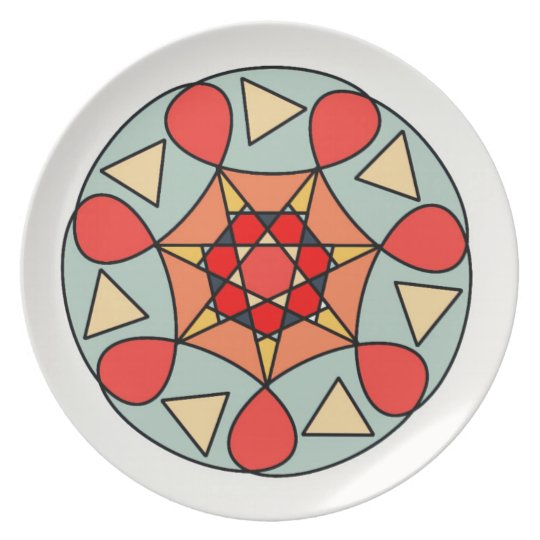 White Orange Grey Geometric Star Plate