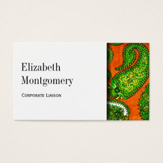 White & Orange Paisley Professional Business Card