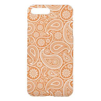 White & Orange Retro Paisley Pattern iPhone 7 Plus Case