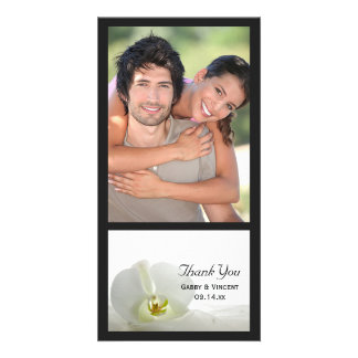 White Orchid and Veil Wedding Thank You Custom Photo Card
