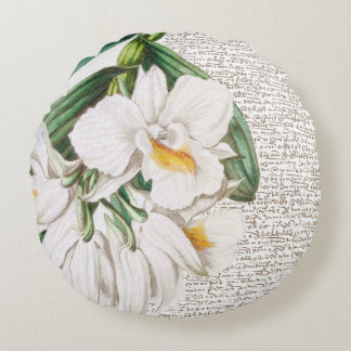 White Orchid Calligraphy Round Pillow