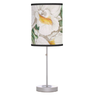 White Orchid Calligraphy Table Lamps