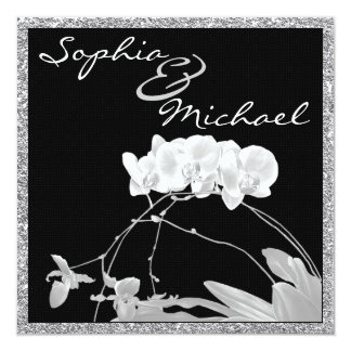 White Orchid CRYSTAL LOOK WEDDING Invitation