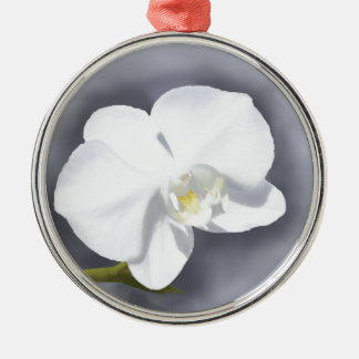 White Orchid Flower Silver-Colored Round Ornament