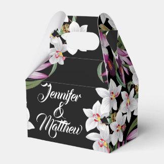 White Orchid Flowers Couples Favor Box