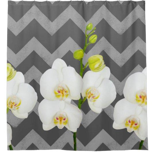 White Orchid Flowers & Medium Grey Chevrons