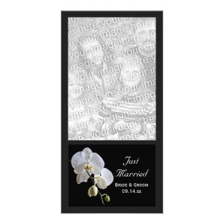 White Orchid on Black Just Married Wedding Personalized Photo Card