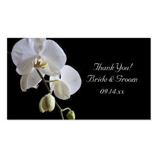 White Orchid on Black Wedding Favor Tags Business Card