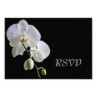 White Orchid on Black Wedding RSVP Response Card