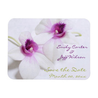 White Orchid Save the Date Magnets