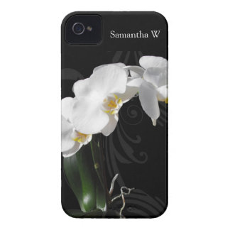 White Orchid Swirl on Black Background iPhone 4 Case