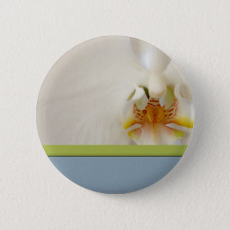 White orchid template with blue and green accent 2 inch round button