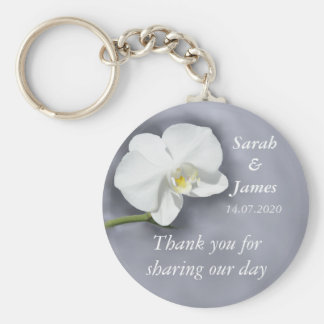 White Orchid Wedding Favour Key Ring Basic Round Button Keychain