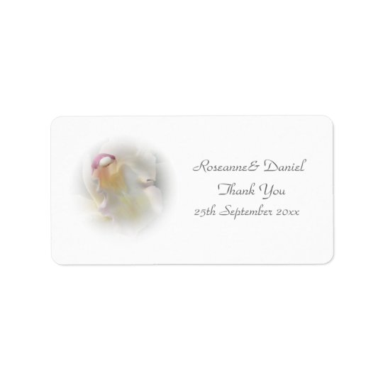 White Orchid Wedding Favour Thank You Label