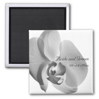 White Orchid Wedding Magnet
