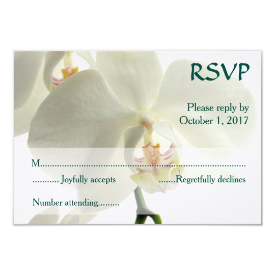 White Orchid Wedding RSVP Card