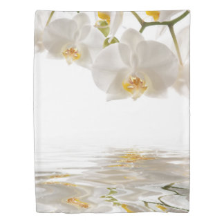 White Orchids (1 side) Twin Duvet Cover