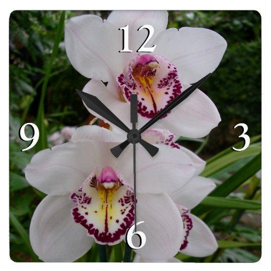 White Orchids Beautiful Tropical Flowers Wallclocks