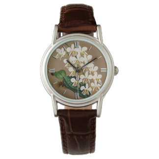 White Orchids Botanical Print, Tan Background Watches