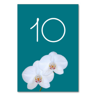 White Orchids Branch Wedding Table Number Card