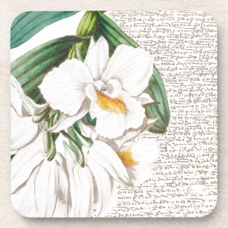 White Orchids Calligraphy Beverage Coasters
