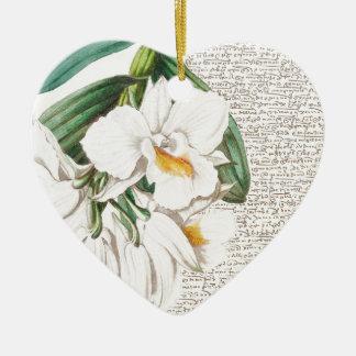 White Orchids Calligraphy Ceramic Heart Ornament