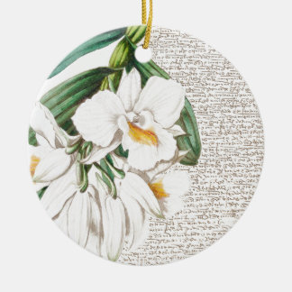 White Orchids Calligraphy Ceramic Ornament
