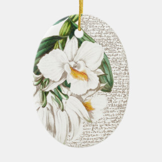 White Orchids Calligraphy Ceramic Oval Ornament