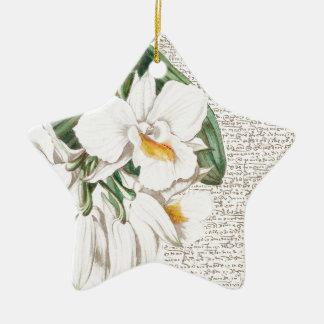 White Orchids Calligraphy Ceramic Star Ornament
