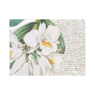 White Orchids Calligraphy Doormat