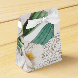 White Orchids Calligraphy Favor Box