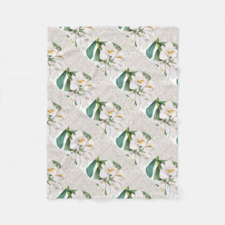 White Orchids Calligraphy Fleece Blanket