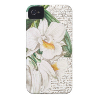 White Orchids Calligraphy iPhone 4 Case
