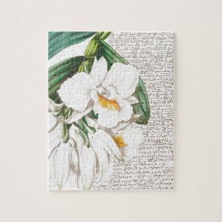 White Orchids Calligraphy Jigsaw Puzzle