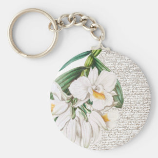White Orchids Calligraphy Keychain