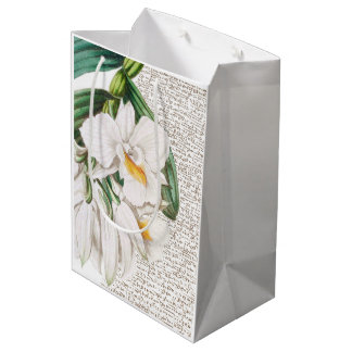 White Orchids Calligraphy Medium Gift Bag