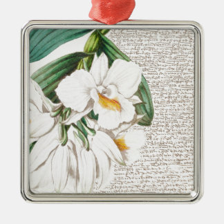 White Orchids Calligraphy Metal Ornament