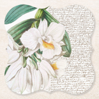 White Orchids Calligraphy Paper Coaster