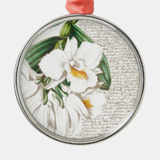 White Orchids Calligraphy Silver-Colored Round Ornament
